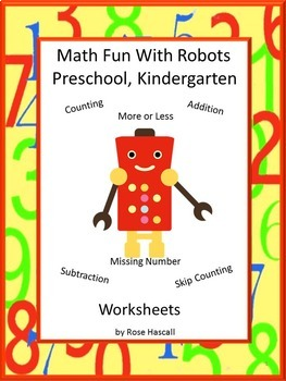 Math Center Robot Themed Worksheets, P-K, K.Special Ed. Autism