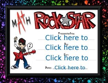 Math Rock Star Award boy