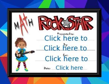 Math Rock Star Award girl