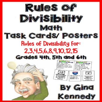 36 Rules of Divisibility Task Cards, Set of 11 Divisibility Posters
