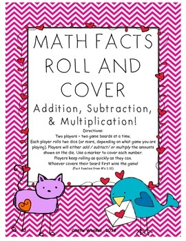 Math Roll and Cover Valentine's Day Edition