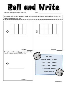 Math Roll and Write Mega Pack Math Center for 3rd, 4th, 5th or 6th Grade