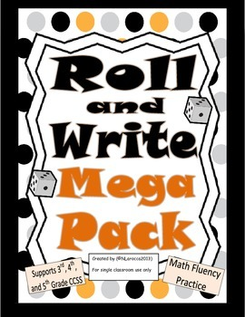 Math Roll and Write Mega Pack Math Center for 3rd, 4th, 5t