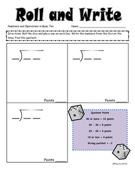 Math Roll and Write Multiplication and Division Fluency Practice