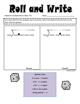 Math Roll and Write Multiplication and Division of Decimals Fluency Practice