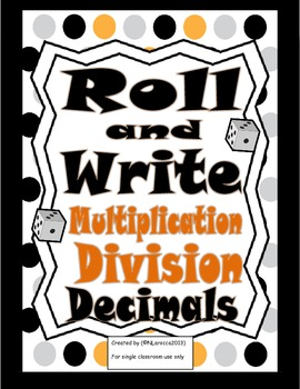 Math Roll and Write Multiplication and Division of Decimal