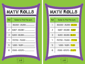 Math Rolls (Multi-Digit Addition and Subtraction)