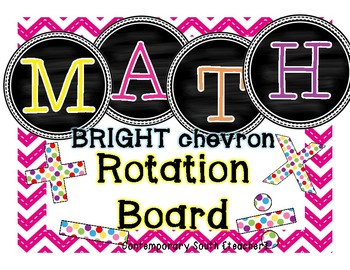 Math Rotation Board {chalkboard & bright chevron}