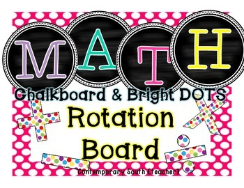 Math Rotation Board {chalkboard & bright dots}
