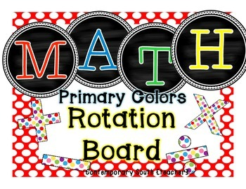 Math Rotation Board {chalkboard & primary dots}