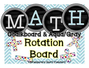 Math Rotation Board {aqua & gray chevron}