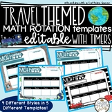 Math Rotation Boards Travel Theme Editable with Timers