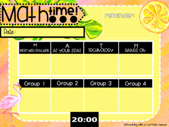 Math Rotation Boards for Centers Tropical Theme With Timers and Editable!