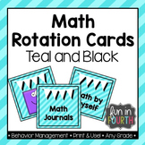 Math Rotation Cards - Teal and Black