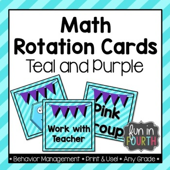 Math Rotation Cards - Teal and Purple