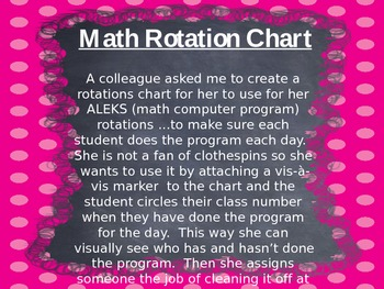 Math Rotation Chart: Visually see when they have completed a task
