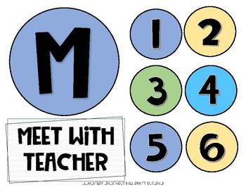 Colorful Math Rotations Board FREEBIE