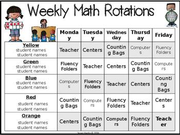 Math Rotations Classroom Management Chart