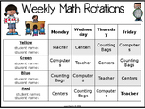 Math Rotations Classroom Management Chart
