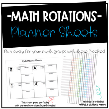 Math Rotations Planner Sheets