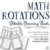 Math Rotations Planning Sheets {Editable PPT}