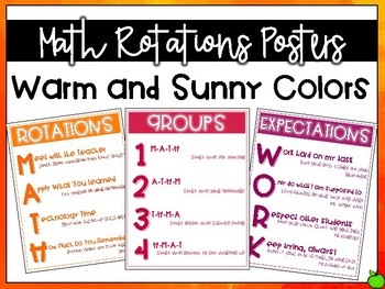 Math Rotations Posters: Warm and Sunny