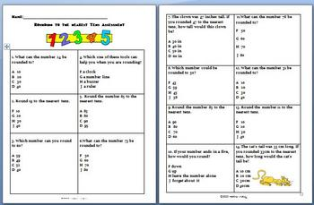 Math: Rounding Assessment : Rounding to the nearest tens