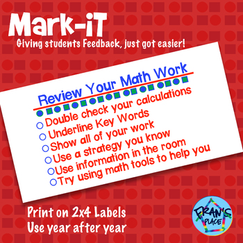 Math Rubric Sticker: Math Assessment Stickers