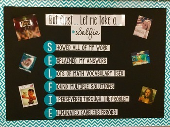 "Math SELFIE ""But first, let me take a..."" Bulletin Board Mnemonic Device"