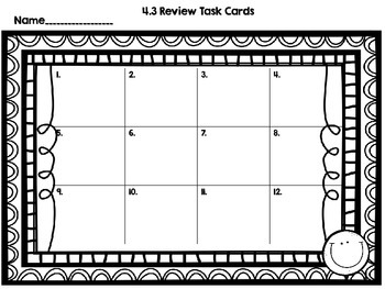 Math SOL 4.3 - 12 Task Cards for Review
