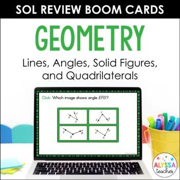 Math SOL Review Digital Task Cards - Geometry (SOL 4.10, 4.11, 4.12)