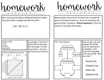 Math STAAR Homework Fifth Grade RETEACH TUTORING