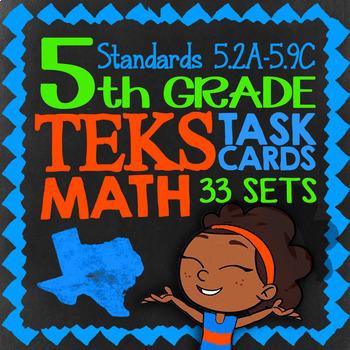 Math STAAR Prep Task Cards ★ 5th Grade STAAR Math Review ★ 1000 TEKS Task Cards