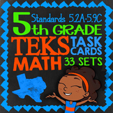 Math STAAR Prep Task Cards ★ 5th Grade Math STAAR Review ★ 1000 TEKS Task Cards