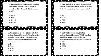 Math STAAR Prep Task Cards Set 1
