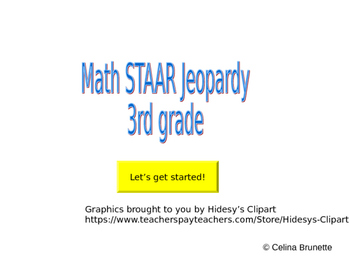 3rd grade Math STAAR Review Jeopardy Game (36 questions)