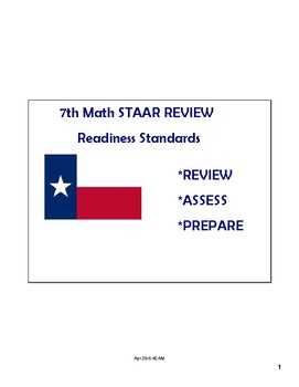 Math STAAR Review Task Cards 7.11 A