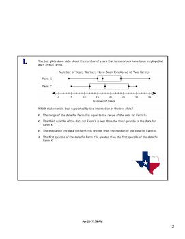 Math STAAR Review Task Cards 7.12 A