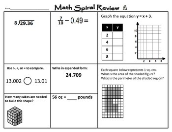 Math STAAR Spiral Review 5th Grade