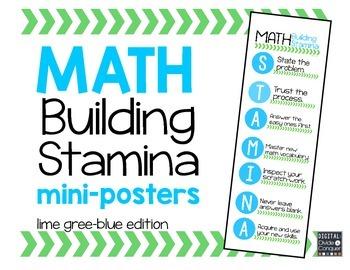 Math STAMINA Mini-Posters (Green & Blue)