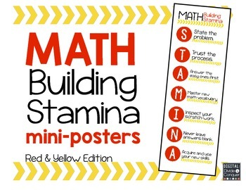 Math STAMINA Mini-Posters (Red & Yellow)