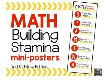 Math STAMINA Mini-Posters (Red & Yellow)