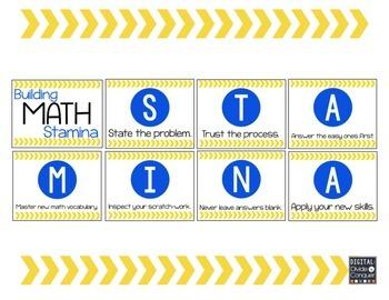 Math STAMINA Posters (Blue & Yellow)