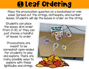 Math/STEM Provocations: 6 Fall Hands On Activities