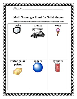 Math Scavanger Hunt for Solid Shapes Common Core