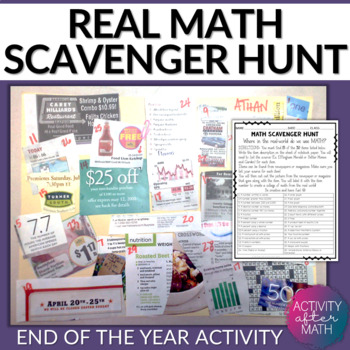 Math Scavenger Hunt. End of the year group activity and real-world application