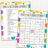 Math Scavenger Hunt Bingo