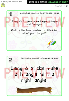 Math Scavenger Hunt Activity: Grades 1 and 2