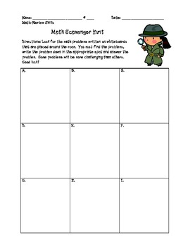Math Scavenger Hunt Center