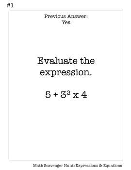 6th Grade Math Scavenger Hunt: Expressions & Equations | TpT